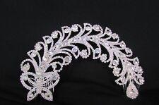 Women Silver Metal Long Butterfly Leaf Bling Head Fashion Jewelry Bridal Dressy