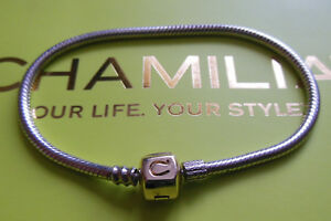 NEW - Genuine Chamilia 19cm 14k Gold Clasp & Silver Bracelet (For Charms/Beads)