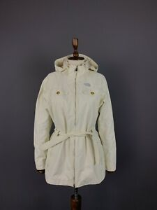 Ladies The North Face White Full Zip Hooded Belted Nylon Parka Jacket