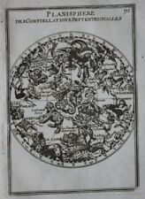 Antique NORTHERN HEMISPHERE CELESTIAL CHART, CONSTELLATIONS, STARS, Mallet, 1683