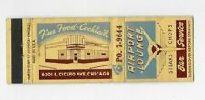 Vintage Matchbook Cover Airport Lounge Chicago IL 4140