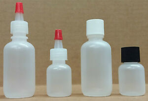 1 oz (30 ml) or 1/3 oz (10 ml) LDPE Plastic Bottles with Caps (Lot of 100)