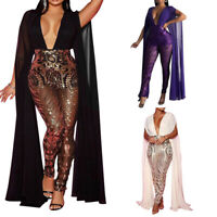 Women Sexy Deep V Neck Sleeveless Cape Romper Sequin Party Night Club Jumpsuit H