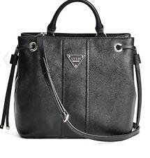 NWT GUESS Cooper Medium Satchel Tote Bucket Bag Handbag Purse Black