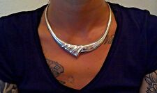 Vintage Mexico Taxco TP-92 Sterling Silver Modernist Choker Halsreif 925 Silber