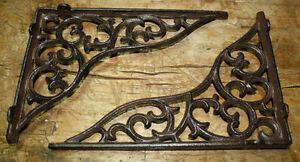 2 Cast Iron Antique Style HUGE Art Deco Brackets Garden Braces Shelf Bracket