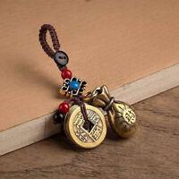 Vintage Brass Money Bag Keychain Pendant Lucky Feng Shui Hanging Key Ch xJ