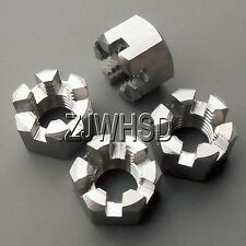 4pcs M10 x 1.25mm Connecting Rod Wheel Axle Hub Slotted Castle Nut Stainless