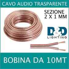 Cavo Audio altoparlanti  2 X 1mm 10MT Stereo speaker casse diffusori  filo
