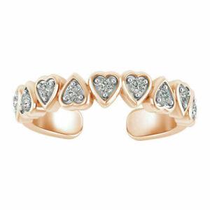 0.15 Ct Round Cut Diamond Women Heart Adjustable Toe Ring 14K Rose Gold Finish