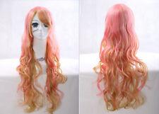 F-1435 rose blonde pink mix 75cm Harajuku lolita Boucles cosplay perruque wig