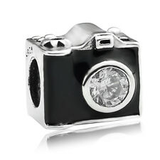 S925 sterling silver Sentimental Snapshots Enamel Camera Bead Charm fit bracelet