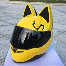 Motorcycle Helmet Pink Black White Yellow Cat Ear Horn Full Face Biker Helmet