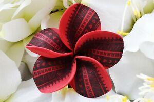 Hawaiian/Island Red Plumeria Tribal Print Flower Hair w/Stem