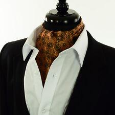 Premium Copper Orange Gold Paisley- Silk Cravat Scarves 'Ascot Tie' Floral - A24
