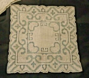 VINTAGE EMBROIDERED SWISS APPENZELL HANDKERCHIF - HEARTS - OLD STOCK  LINEN