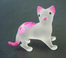 Glass CAT KITTEN Pink & White Frosted Glass Ornament Glass Animal Collector Item