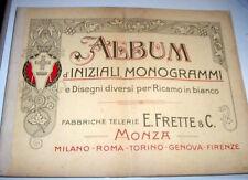 Moda Ricami  Frette Album iniziali monogrammi disegni per ricamo in bianco 1920
