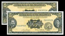 5  Pesos English Series Macapagal-Castillo 2 Consecutive Serial Numbers Banknote