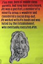 Vintage Black light poster Jesus hated by establishment religious 1970's pin-up