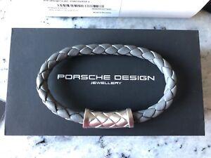 Porsche Design Bracelet NEXUS Grey Asphalt braided leather 21,5 cm *NEW*