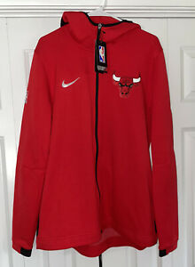 Nike Chicago Bulls NBA Showtime Full Zip Up Hoodie Red Men's Size XL New