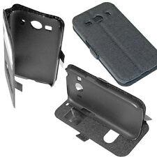 custodia eco pelle nera cover con View e Stand per Samsung Galaxy A7 SM-A700