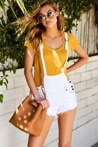 WE THE FREE Strappy Denim Shortalls in Ivory, Size US 29 / AU 12 NWOT [RRP $125]