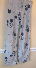 Disney Mickey Mouse Gray 100% Polyester Fleece Pajama Lounge Pants Size S GC