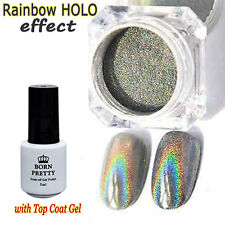 Nail Art Rainbow Holographic Powder Glitter Pigment with Top Coat Decoration DIY