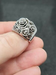 ladies silver Rose style  925 sterling  silver filled  ring size 9 us