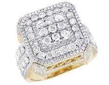 Men's 10K Yellow Gold Genuine Diamond 3D Square Statement Ring 2 9/10 CT 19MM
