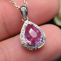 """3Ct Pear Cut Pink Sapphire Solitaire Pendant Necklace 14K White Gold Finish 18"""""""