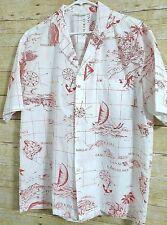 Aloha Hawaiian Fashions Shirt Men's Hawaiian Isles Map Shirt Red White Short Slv