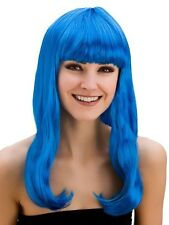 Adult Ladies Long Electric Blue Fringed Fantasy Wig Fancy Dress Pop Star Perry