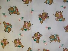 Christmas Reindeer Ho Ho Fabric Unbranded Green Red Hats Scarfs BTY