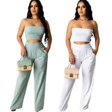 New Women's Stylish Sleeveless Solid Color Draped Casual Wide Leg Jumpsuit 2pcs