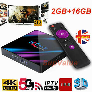 2021 H96 MAX Android 9.0 TV Box 2GB+16GB HD Media Player 4K 2.4G/5GHz WIFI UK
