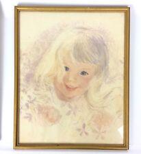 Pastel Portait Blonde Girl with Flowers Blue Eyes Toddler Framed Vintage