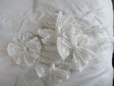 4 Vintage Shabby Cottage Chic White Lace Curtain Tiebacks
