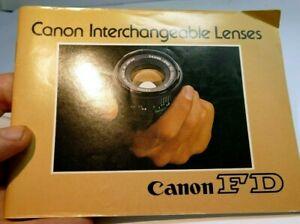 Canon FD Interchangeable Lenses Brochure Guide English 1975 manual focus