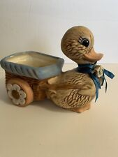 Vintage Duck Duckling Planter Pulling A Cart Hand Painted