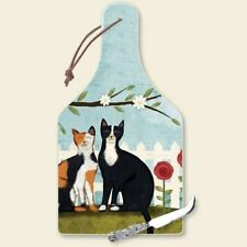 Cat Theme Glass Cheese Board with Knife - 34-180