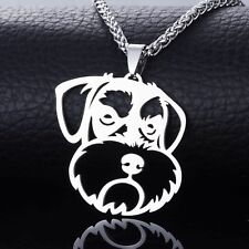 Big Stainless Steel Standard Miniature Schnauzer Face Pet Dog Pendant Necklace
