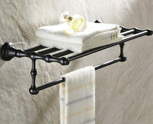 Black Oil Brass Bathroom Wall Mounted Towel Rail Holder Storage Rack Shelf Bar