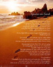 Poster Spuren im Sand Gedicht Fussabdrücke Strand Meer