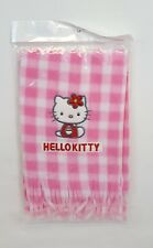 Sanrio HELLO KITTY Pink & White Gingham Fleece Winter Scarf Rare NEW in PACKAGE