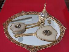 Vintage Vanity Dove Mirror Tray, Perfume, Mirror, Brush and Comb Set