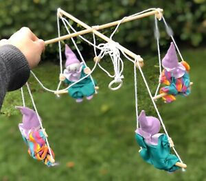 Vintage Purple Green & Multicolour Clown Baby Cot Crib Mobile Hand Made By P.A.M