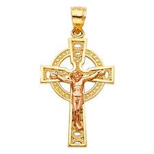 Jesus Small Charm Pendant Chain Free 14k 2 Tone Gold Religious Crucifix Cross